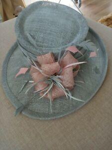 STUNNING GREY/PEACH WEDDING HAT.... ONE SIZE