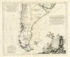 """""""CARTE de Chili meridional, du Rio de la Plata..."""" Santini/d'anville 1784 carte"""