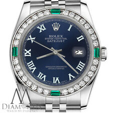 Ladies Rolex 31mm Datejust Navy Blue Color Roman Numeral Emerald  Dial Watch