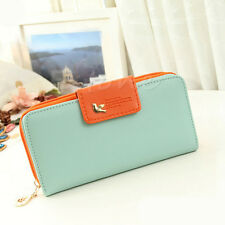 New Women PU Leather Cute Buckle Long Purse Clutch Button Wallet Bag Card Holder