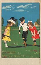 CHILDREN DIABOLO GAME EMBOSSED POSTCARD (c. 1910)