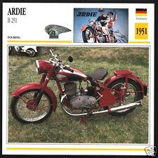 1951 Ardie B 251 (246cc) 250 German Bike Motorcycle Photo Spec Sheet Info Card