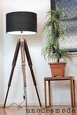 Beautiful Hand Made Designer Solid Teak Tripod Floor Shade Lamp. RRP $399