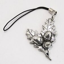 Acorn (Oak Leaf) Bag / Phone Charm in Fine English Pewter, Handmade, (tsh)