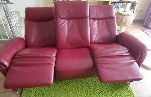 weinrote Ledercouch Dreisitzer Sofa Relaxfunktion Couch Leder