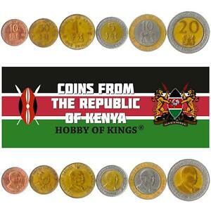 MONEY SET OF 6 COINS FROM KENYA: 10, 50 CENTS, 1, 5, 10, 20 SHILLINGS. 1994-1998