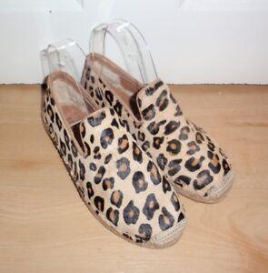 BNIB UGG womens SANDRINNE calf hair leopard print espadrille summer flats UK 3.5