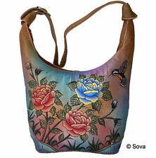Sova Hand Painted Leather Hobo Bag - 12 Adorable Fine Arts