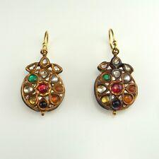 RRR Mughal 22K Gold Drop Earrings Antique Victorian Ruby Rose Cut Diamond Pearl