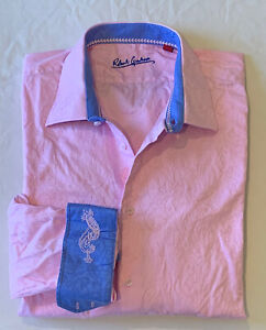 Mens Robert Graham Pink Paisley Print Flip Cuff Button-Front Shirt Sz 2XL XXL