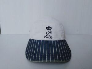 Vtg. POLO by RALPH LAUREN Cap Hat 5 PANEL Canvas Leather Strap Crown Anchor