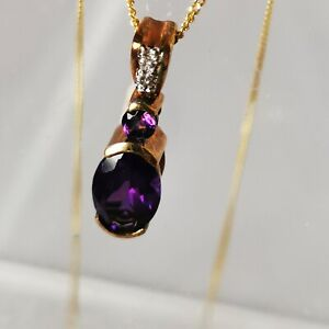 9 Carat Gold Amethyst Diamond Pendant 10 Carat Rose Gold With 18 Inch Gold Chain