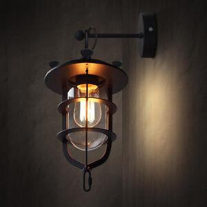 1 PC European Vintage Outdoor Glass+ Metal Antique Single Light Wall Lamp 0025