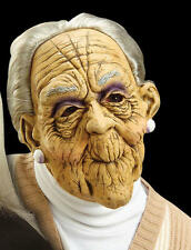 Scary Old Woman Lady Rubber Mask & Hair Granny Halloween Fancy Dress