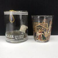 Vintage Culver Whiskey Shot Glass  22 K Gold Xmas Cottage