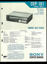 Sony CDP-101 RM-101 Compact Disc CD Player Original Factory Service Manual Guide