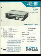 Disco Compacto Sony CDP-101 RM-101 reproductor de CD Guía Manual de servicio de fábrica original