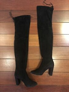 Stuart Weitznan Black Suede Over-The-Knee Boots Size 37
