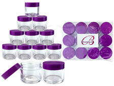 12 Pieces 30 Gram/30ml Plastic Clear Sample Jar Containers with Purple Flat Lids