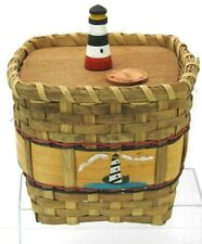 Vintage Karen Traub Lighthouse Basket w/ Lid Originals Woven Hand Painted 1999