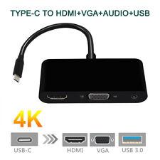 3 in 1 USB-C Hub Type C to 4K HDMI USB3.0 VGA 3.5mm Audio Adapter for Macbook