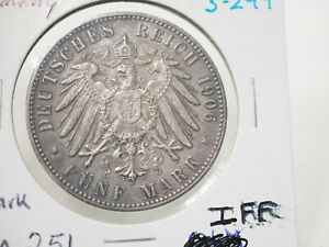 GERMANY BREMEN 5 MARK SILVER 1906  KM 251 # 3-299