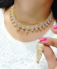 Tanya Collection Choker Mala Yellow Stone Necklace Goldtone Earring Wedding Gift