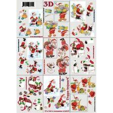 Christmas 3D A4 Paper Tole Minature 9 Pictures Santa Claus