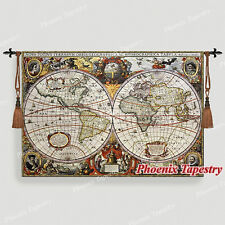 "Small Antique Map Medieval Fine Art Tapestry Wall Hanging, 47""x33"", UK"