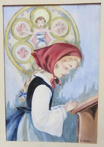 VINTAGE SIGNED UNFRAMED WATERCOLOR OF YOUNG GIRL PRAYING