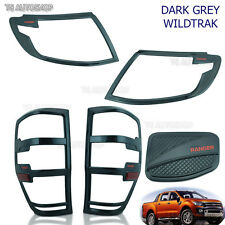 Fuel Grey Head Tail Lamp Light Cover Fit For Ford Ranger Wildtrak 2012 2013 2014