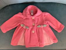 Mack &Co Girl Pink Coat 18M Fleece Long Sleeve Flowers Decor Button Open Front