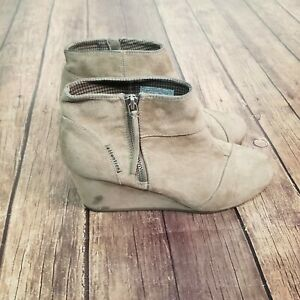 Attention Emmy Taupe Wedge Bootie Womens Size 9 Side Zip Solid Synthetic