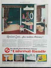 1953 Universal Rundle pink bathroom tub sink toilet vintage bath fixtures ad