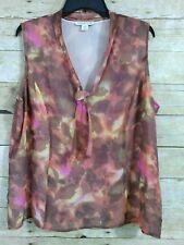Coldwater Creek Brown Orange Pink Sleeveless Top Women's XL (18) Blouse Neck Bow