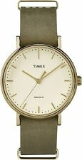 "Timex TW2P98500, ""Fairfield Weekender"" Olive Leather Watch, TW2P985009J"