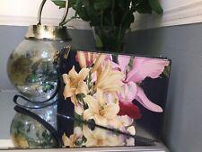 Navy floral Ted baker leather  clutch bag / purse wristlet