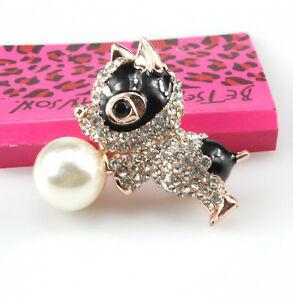Betsey Johnson White Black Eye Puppy Dog Rose Gold Brooch Pin Free Gift Bag