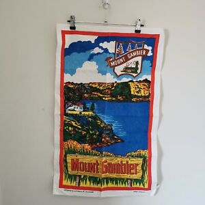 Vintage Handpainted Tea Towel Mt Gambier Australia Linen/Cotton