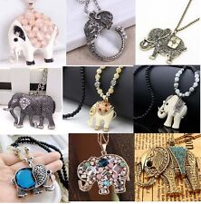 Women Jewelry Cute Elephant Pendant Rhinestone Opal Sweater Long Chain Necklace