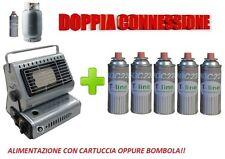 STUFA STUFETTA PORTATILE A GAS DOPPIA CONNESSIONE CON INCLUSE 5 CARTUCCE A GAS