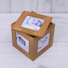 PERSONALISED Wooden Photo Frame Cube OAK Trinket Box Multi Picture - Baby Family