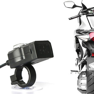Dual USB 12V Motorcycle Handlebar Power Charger Outlet Socket Waterproof ATF