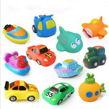 New Soft Rubber Float Sqeeze Sound Baby Bath Play Car Plane Boat Vehicle Toy JX