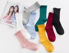 1Paar Damen Mädchen Lotusblattseite Strümpfe Haus Boden Socken Unifarben Socks