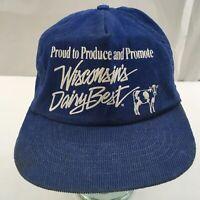 Vintage Farmer Cap Corduroy Wisconsin Dairy Best Snap Back Hat Trucker USA-Made