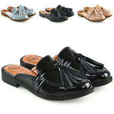 8cf471fe64d0 Womens Backless Loafers Mule Ladies Tassel Slip On Slider Casual Shoes Size  3-8