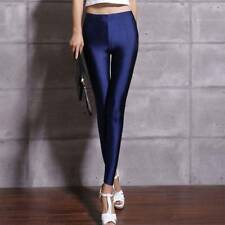 Sexy Women Fluorescent Pants Elastic Workout Leggings Shiny Glossy Trousers
