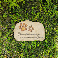 Paw Print Pet Memorial Stone Grave Marker Puppy Backyard Tombstone Gift