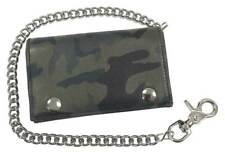 Motorcycle Mens Genuine Leather Tri-Fold Wallet with Chain, Green Camo OCF817